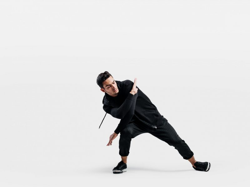 Handsome young man wearing a black sweatshirt and black pants is dancing breakdance  Būreliai ir studijos handsome young man wearing a black sweatshirt and 4G9NEMW scaled 800x600